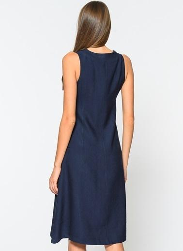 Loves You Kalın Askılı Düğmeli Elbise Lacivert